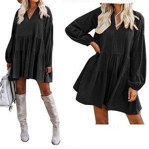 FANCYINN  V Neck Loose Swing Tunic Mini Dress